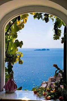 Positano, Italy If I run away from home this is where I'll be. Italy Honeymoon, Honeymoon Destinations, Beautiful Places To Visit, Beautiful World, Places To Travel, Places To Go, Positano Italy, Window View, Amalfi Coast