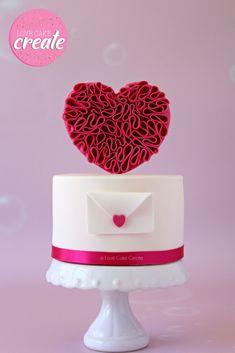 Valentine's Day Ruffle Heart Cake Tutorial - by Love Cake Create