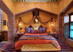 Beautiful bedroom in San Miguel de Allende; this is rather grand, but great for color ideas.