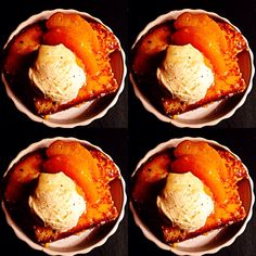 Brioche perdue, pêches caramélisées, glace vanille (recette Nicolas Conraux - Restaurant La Butte)