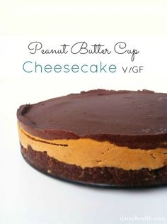 """Check out my Vegan Peanut Butter Cup """"Cheesecake."""" This recipe is no bake, vegan, coconut oil, gluten free, easy and peanut butter chocolate heaven! Try this delicious peanut butter cup cheesecake for your next event. Peanut Butter Cups, Peanut Butter Cup Cheesecake, Cheesecake Recipes, Vegan Cheesecake, Raw Desserts, Gluten Free Desserts, Just Desserts, Delicious Desserts, Yummy Food"""