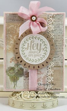 I made this card using images from Walzingmouse Stamps and pretty patterned paper from Melissa Frances designed by Mona Pendleton.