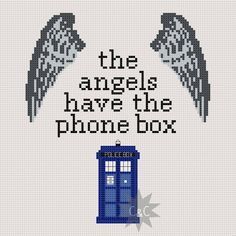Doctor Who The Angels Have The Phone Box quote cross stitch sampler PDF pattern. £2.30, via Etsy.
