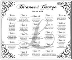Wedding Seating Chart for your wedding reception.