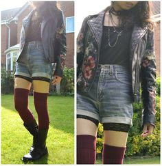 Claires Bead Choker, Esprit Chain Necklace, River Island Hand Painted Leather Biker Jacket, Esprit Strappy Vest, Wrangler High Waisted Diy Denim Shorts, Tesco Diy Lace Trimmed Cycling Shorts, Topshop Over The Knee Socks, Dr. Martens 1914 14 Hole Docs