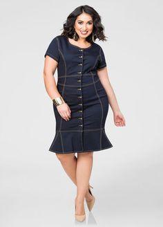 Plus Size Flippy Hem Denim Dress