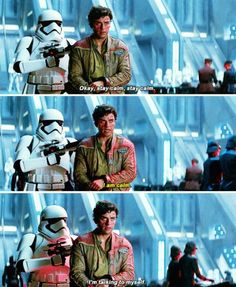 Oh Finn. I love that his storm trooper designation Fn2187 is the same as the cell # in A New Hope.