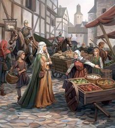 Medieval market by Mats Minnhagen on DeviantArt Fantasy Kunst, Fantasy City, Fantasy Rpg, Medieval Fantasy, Fantasy Artwork, Fantasy World, Medieval Market, Medieval Life, Fantasy Faction