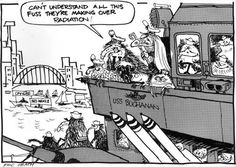 USS Buchanan anti-nuclear cartoon - 'Can't understand all this fuss they're making over radiation!' On 4 February 1985 the Labour government refused the USS Buchanan entry to New Zealand ports on the grounds that the United States would neither confirm nor deny that the ship had nuclear capability.