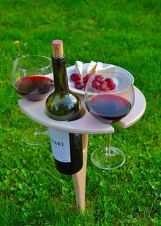 Enjoy Wine Anywhere! Take your portable wine table to your favorite spot and enjoy that bottle of wine and plate of snacks with ease.