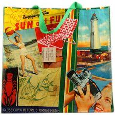 Vintage - Eco Blue Q Beach Tote Shopper - 1 Tote $11.99