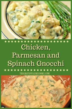 Chicken Parmesan Spinach Gnocchi is an easy to make, 30 minute Italian entree with chicken, fluffy potato dumplings, Parmesan cheese sauce and spinach!  via @gratefuljb