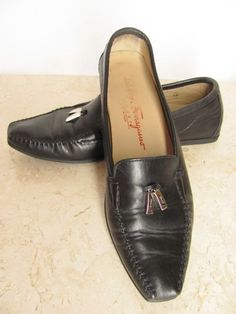 Quality Italian SALVATORE FERRAGAMO Shoes, size 7.5 M. Black leather. Silver logo charms! Only $47.99!  http://stores.ebay.com/Better-World-Boutique?_rdc=1