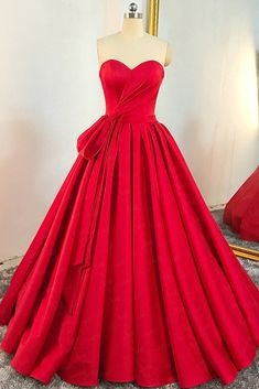 8ccc3b56a03 Red Satin Sweetheart Pleated A Line Prom Dress