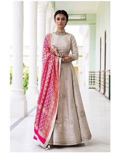 Beautiful Hand Embroidered Silk Lehenga-Choli with pink Banarasi dupatta. Anarkali Dress, Lehenga Choli, Pink Lehenga, White Anarkali, Lehenga Style, Silk Dupatta, Georgette Sarees, Anarkali Suits, Punjabi Suits