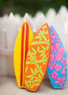 Colorful Decorated Surf Board Sugar Cookies