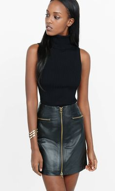 Sleeveless Ribbed Turtleneck Sweater from EXPRESS