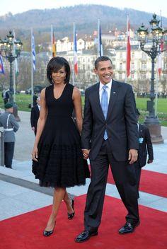 Gemeinsam mit seiner Frau Michelle traf Obama vor dem Kurhaus in Baden-Baden ein