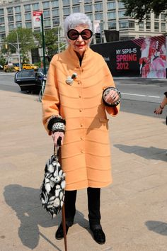 Iris Apfel Doesn't Do Normcore - NYTimes.com. NOTICE the date on the sign behind her.
