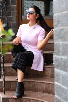 Pink front slit top with plaid culottes