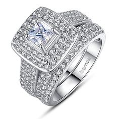 Bamoer 2015 New Arrival Elegant 2 Pieces Square Cushion Cut Solitaire Halo Cubic Zirconia Wedding Engagement Ring Set for Women Men Size 7 to 8 (8) >>> (This is Amazon Affiliate Link) Want to know more, click on the image.