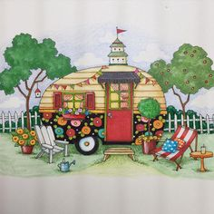 Only Mary Engelbreit could make a small trailer look so inviting. Mary Engelbreit, Illustrations, Illustration Art, Homemade Curtains, Arte Country, Pics Art, Happy Campers, Folk Art, Cute Pictures