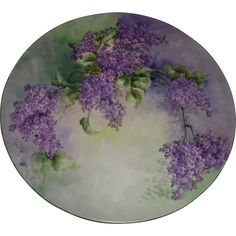 Gorgeous Large 16'  Hand Painted Antique Limoges Porcelain Plaque Tray Charger with Lilacs. Ca. 1891