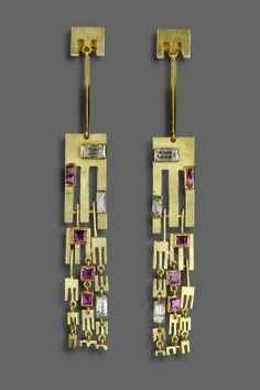 Gem-set earrings with pendant fringe Anton Frühauf,