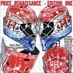Carey Price brings colorful new equipment feel to mask design Goalie Mask, Buckets, Mask Design, New Look, Hockey, Masks, Bring It On, Canada, Colorful