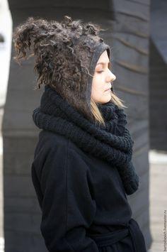 "Купить Шапка валяная ""In the jungle"" - черный, шапка, шапка-ушанка, шапка войлочная"