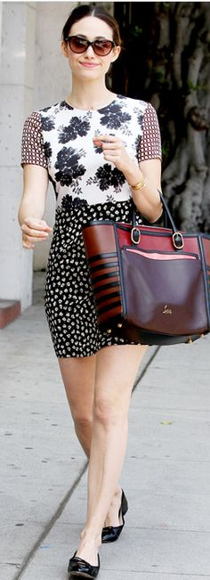 Emmy Rossum in Topshop and a Christian Louboutin 'Farida' bag in LA.