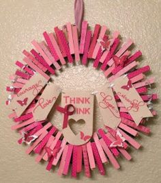 Clothespin Wreath DIY Home Wall Art Decor Breast Cancer Awareness Think Pink Courage Hope and Strength Stampin' Up! Breast Cancer Wreath, Breast Cancer Crafts, Valentine Wreath, Valentine Decorations, Homemade Christmas Gifts, Homemade Gifts, Wreath Crafts, Clothespin Crafts, Wreath Ideas