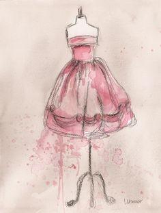 """Title: """"Vintage Pink Party Dress"""" Artist: Lauren Maurer"""
