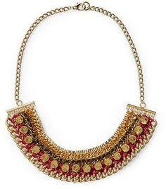 Sabine Woven Chain Statement Necklace, $46#necklace#bib