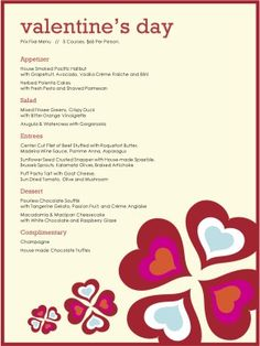 valentine day menu bedford