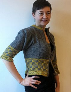 "Traditional Gotland mitten pattern inspired this short and feminine jacket. I found it in an small old book ""Gotländska stickmönster"", there it had the name of Hourglass (timglas). Raum..."