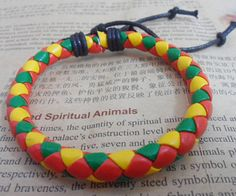 Shoply.com -Red yellow green color woven leather cord bracelet jewelry. Only $2.99