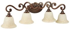 Resplendent in Peruvian bronze, this Craftmade Toscana 4 Light Bathroom Vanity Light features an elaborate scroll and antique scavo glass. Bathroom Wall Lights, Bathroom Light Fixtures, Bathroom Vanity Lighting, Tuscan Bathroom, Bronze Bathroom, Traditional Baths, Rustic Italian, Mediterranean Home Decor, Tuscan Decorating