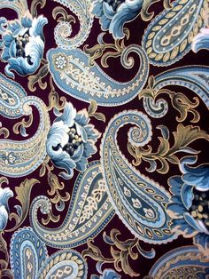 Pattern and design: blue paisley Motif Paisley, Paisley Art, Paisley Design, Paisley Pattern, Pattern Art, Pattern Design, Paisley Doodle, Paisley Fabric, Textile Patterns