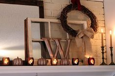 Fall Mantle Decor - Candles and old window Window Frame Crafts, Old Window Projects, Old Window Frames, Fall Mantle Decor, Fall Home Decor, Mantle Decorating, Mantle Ideas, Fall Fireplace, Seasonal Decor