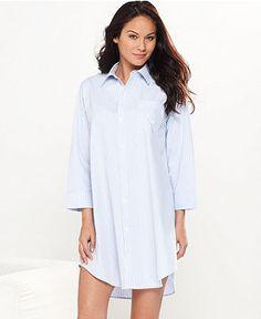 Lauren Ralph Lauren Sleepshirt, Roll Cuff Sleepshirt - Lingerie - Women - Macy's
