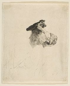 Old Man Shading His Eyes with His Hand  Rembrandt (Rembrandt van Rijn) ca. 1639. / Etching and drypoint
