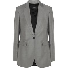 Joseph Laurent Super 100 wool-twill blazer ($640) ❤ liked on Polyvore featuring outerwear, jackets, blazers, coats & jackets, suit, grey, grey wool blazer, blazer jacket, gray tuxedo jacket and wool blazer