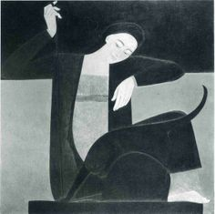 Will Barnet(1911ー2012)「Woman Cat and Yarn」