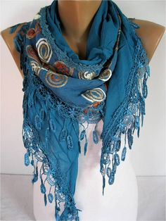 ON SALE  Elegant  Scarf  Cowl with Lace Edge Fashion by MebaDesign,