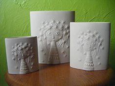 Rare full set of 3 hornsea john clappison aphrodite decorative vases