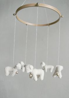 Baby  mobile - nursery mobile - baby crib mobile - Lambs mobile - Sheeps mobile -FOR LITTLE SHEPHERD- baby gift - made to order. $89.00, via Etsy.