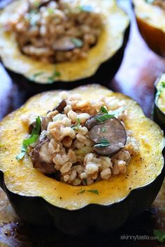 This simple savory stuffed acorn squash is easy to make and filled with the wonderful flavors of Fall.  The stuffing is made with farro, chicken sausage, mushrooms, celery, onions and sage – you'll love this!  It doesn't get easier than this: simply halve and hollow out acorn squash, then season with salt and roast in the oven. Nothing like warming up the kitchen on a blistery night with baked squash in the oven. While that bakes make the stuffing on the stove, then when the squash is ready…
