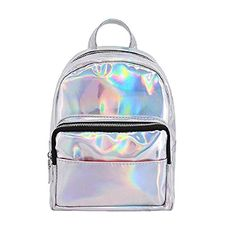 Orfila Women Hologram Laser Backpack PU Leather Mini Casual Travel Daypack  School Bag Shoulder Handbags Small 053fdb6adc