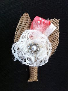 Custom Burlap & Lace Boutonniere/Corsage  by RoundRockCrafts, $12.00